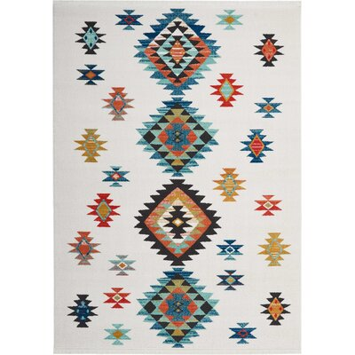 Pittsfield White/Blue Area Rug Rug Size: Rectangle 710 x 109