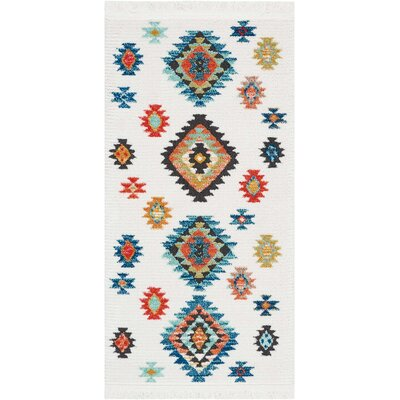 Pittsfield White/Blue Area Rug Rug Size: Rectangle 22 x 43
