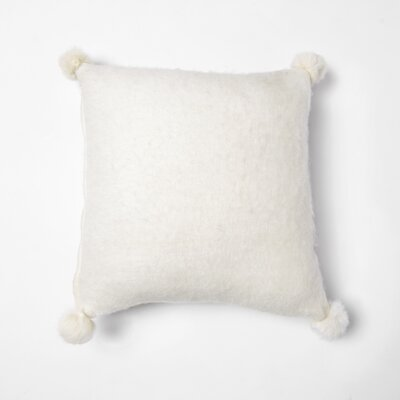 Zaliki Rabbit Fur Pom Pom Wool Throw Pillow Color: White