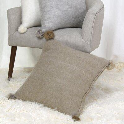 Zaliki Rabbit Fur Pom Pom Wool Throw Pillow Color: Beige