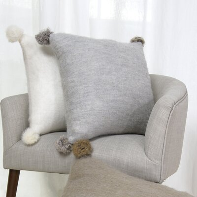 Zaliki Rabbit Fur Pom Pom Wool Throw Pillow Color: Gray