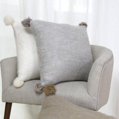 Zaliki Rabbit Fur Pom Pom Wool Throw Pillow Color: Gray