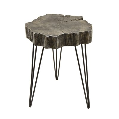 Romey End Table Size: 25 H x 18.25 W x 18 D, Color: Gold