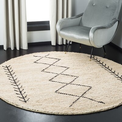 Pace Hand-Woven Ivory/Black Area Rug Rug Size: Round 6