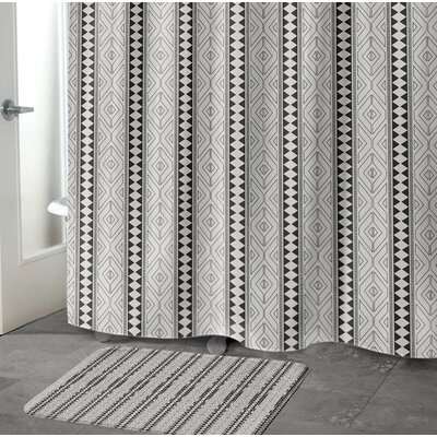 Barbosa Memory Foam Bath Rug Size: 17 H x 24 W x 0.75 D, Color: Black/ Grey