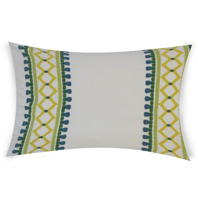 Kinser Geometric Down Filled 100% Cotton Lumbar Pillow Color: Palm