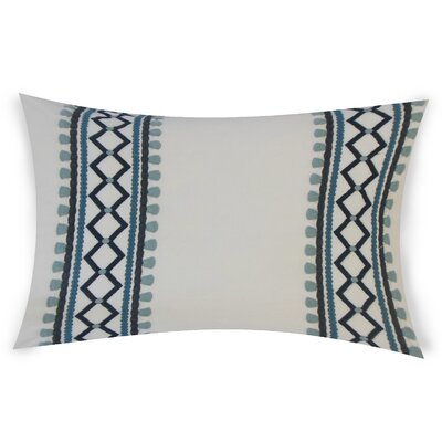 Kinser Geometric Down Filled 100% Cotton Lumbar Pillow Color: Indigo