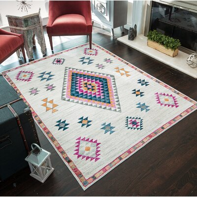 Leppert Tribal Ivory Area Rug Rug Size: 53 x 7