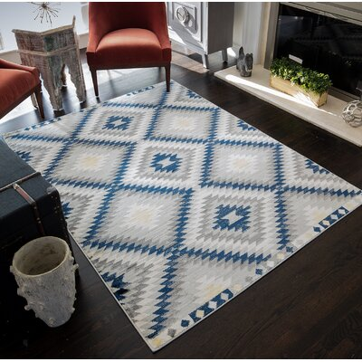 Leppert Tribal Blue/Gray/Beige Area Rug Rug Size: 53 x 7
