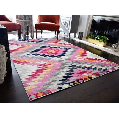 Leppert Tribal Pink/Gray Area Rug Rug Size: 8 x 10