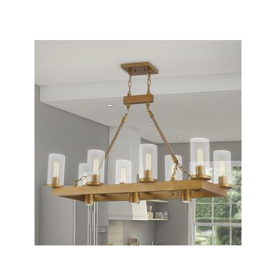 Abby Linear 8-Light Kitchen Island Pendant Finish: Aged Gold