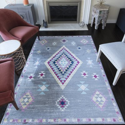 Leppert Tribal Dark Gray Area Rug Rug Size: 53 x 7