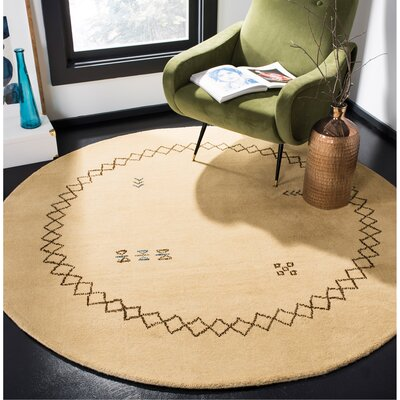 Coraima Hand-Loomed Wool Beige Area Rug Rug Size: Round 6