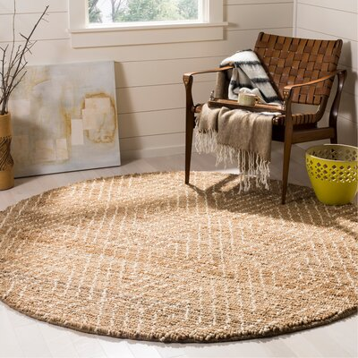 Pace Hand-Woven Natural/Ivory Area Rug Rug Size: Round 6