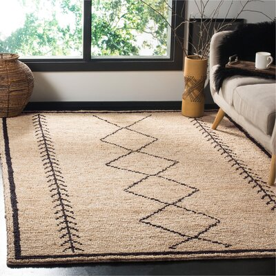Pace Hand-Woven Ivory/Black Area Rug Rug Size: Rectangle 8 x 10