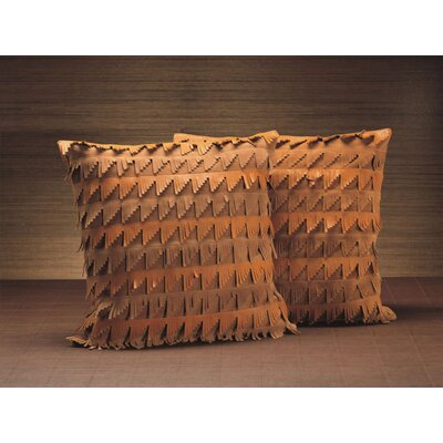 Ralphio Fringed Leather/Suede Throw pillow