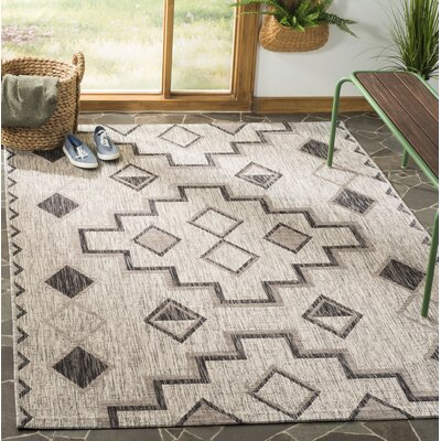 Mathes Gray/Black Indoor/Outdoor Area Rug Rug Size: Rectangle 53 x 77