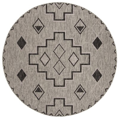Mathes Gray/Black Indoor/Outdoor Area Rug Rug Size: Round 67