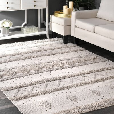 Lynch Hand Tufted Wool Ivory Area Rug Rug Size: Rectangle 76 x 96