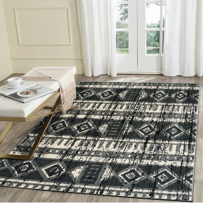 Virdi Anthracite Gray/Black Area Rug Rug Size: Runner 21 x 75