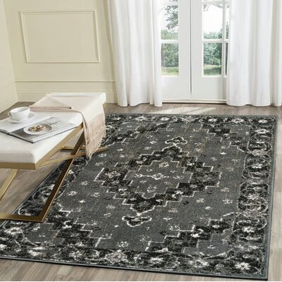 Virdi Titanium Gray/Black Area Rug Rug Size: Rectangle 52 x 72