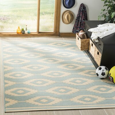 Martinez Aqua/White Area Rug Rug Size: Rectangle 4' x 6'