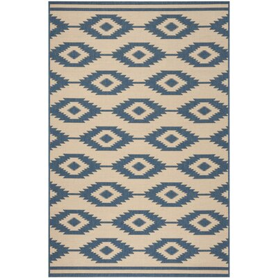 Lollar Blue/Cream Area Rug Rug Size: Rectangle 8 x 10
