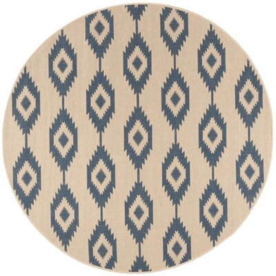 Lollar Blue/Cream Area Rug Rug Size: Round 67