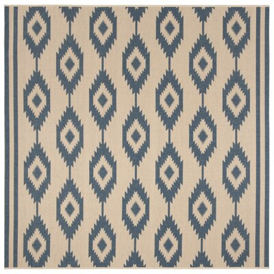 Lollar Blue/Cream Area Rug Rug Size: Square 67
