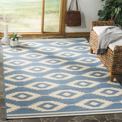Mathieson Cream/Blue Area Rug Rug Size: Rectangle 9 x 12