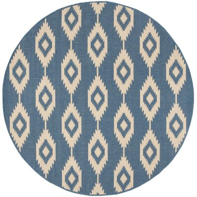 Mathieson Cream/Blue Area Rug Rug Size: Round 67