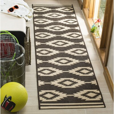 Lollar Cream/Brown Area Rug Rug Size: Runner 2 x 8