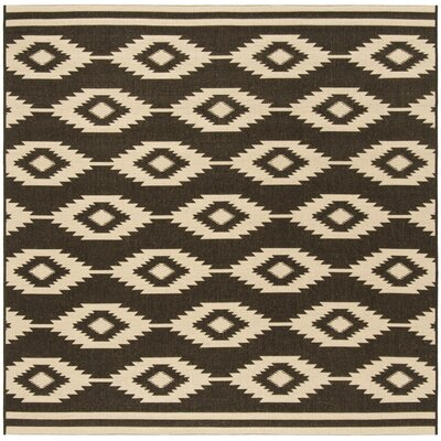Lollar Cream/Brown Area Rug Rug Size: Square 67