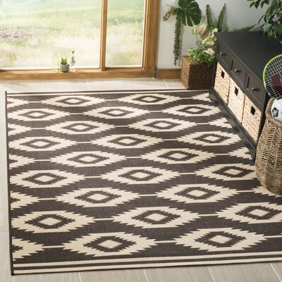 Lollar Cream/Brown Area Rug Rug Size: Rectangle 4 x 6