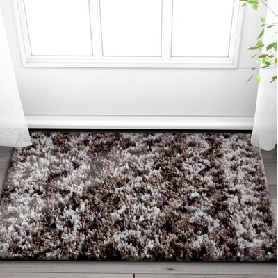 Olszewski Dark Gray/White Area Rug Rug Size: Rectangle 53 x 73
