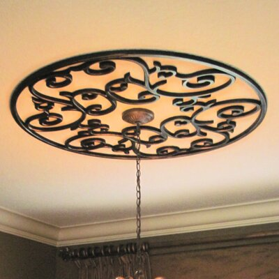 Eva Ceiling Medallion Finish: Black Iron, Size: 48 H x 48 W x 0.75 D