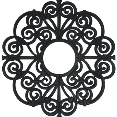 Amany Frameless Ceiling Medallion Size: 32 H x 32 W x 0.75 D , Finish: Black Iron