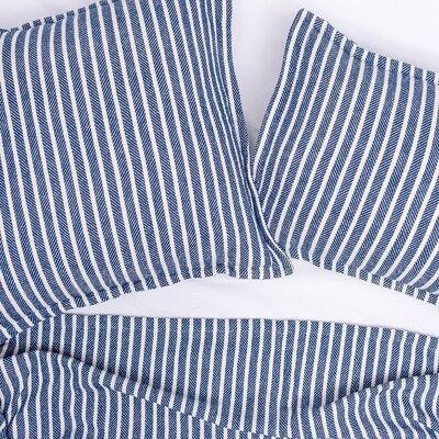 Bengal Stripe 100% Cotton Throw Color: Indigo