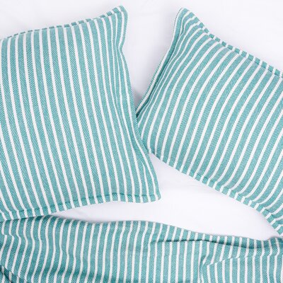 Bengal Stripe 100% Cotton Blanket Size: Queen, Color: Lagoon