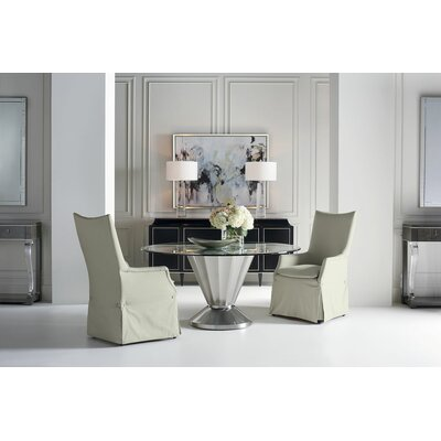 Scalloped Glass Top Dining Table