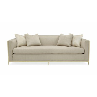 Metal Wrapped Bench Cushion Sofa Body Fabric: Gold