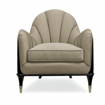 Channeled Club Chair Body Fabric: Light Brown