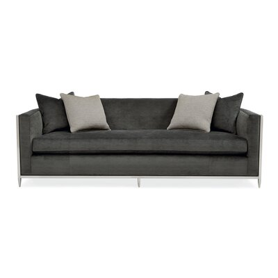 Metal Wrapped Bench Cushion Sofa Body Fabric: Black