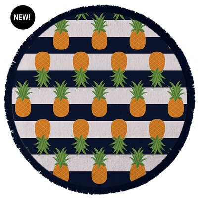 Foodie Nautical Pineapple Beach Towel