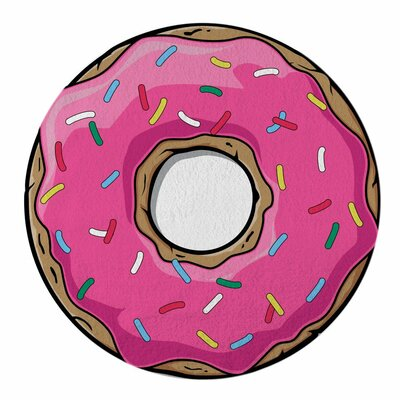 Foodie Chocolate Donut Beach Towel Color: Pink