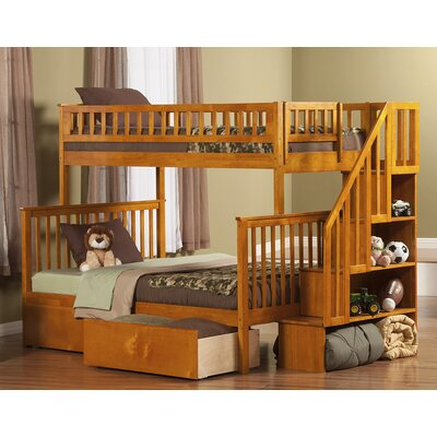 Shyann Twin over Full Bunk Bed with Storage Finish: Caramel Latte