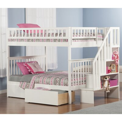 Shyann Full over Full Bunk Bed with Storage Finish: White