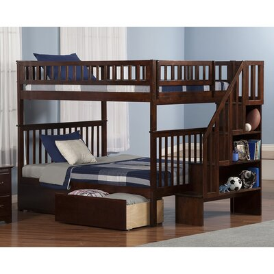 Shyann Bunk Bed with Storage Color: Antique Walnut