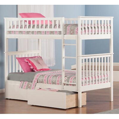 Shyann Twin over Twin Bunk Bed with Storage Finish: White