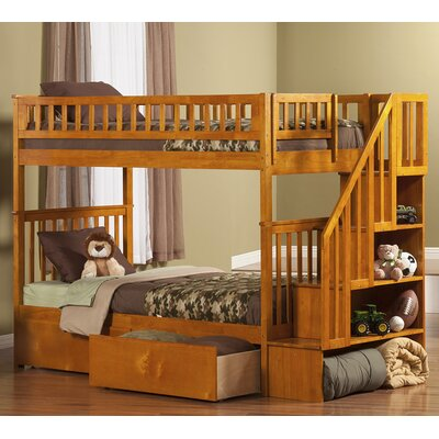 Shyann Twin over Twin Bunk Bed with Storage Color: Caramel Latte